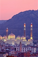 Preview iPhone wallpaper Sanaa, Yemen, mountains, buildings, night
