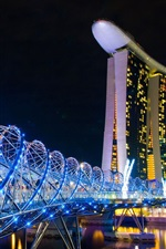 Singapore, city night, hotel, bridge, blue lights