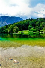 Preview iPhone wallpaper Slovenia, mountains, summer, river, sky, clouds, beautiful nature