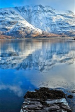 Preview iPhone wallpaper Snow mountains, lake, water reflection, blue