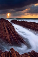 Preview iPhone wallpaper Spain, the Atlantic ocean, rocks, sea, water streams, sky, clouds