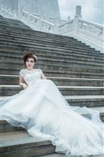 Preview iPhone wallpaper Stairs, white dress girl, bride, wedding