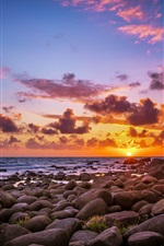 Preview iPhone wallpaper Stones, sea, beach, sunrise, sun, morning