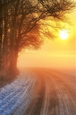 Preview iPhone wallpaper Sunset, road, winter, trees, warm sun