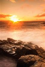 Sunset sea, beach, rocks, stones, clouds