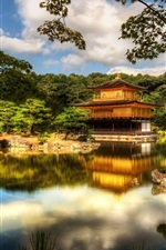 Preview iPhone wallpaper Temple, pavilion, Kyoto, Japan, trees, lake