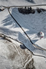 Preview iPhone wallpaper Top view, road, house, balloon, winter, snow