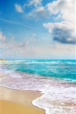 Preview iPhone wallpaper Tropical landscape, beach, coast, blue sea, clouds
