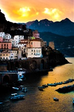 Tyrrhenian Sea, Amalfi, Italy, houses, sea, mountains, sunset, dusk
