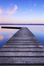 Preview iPhone wallpaper United Kingdom, England, lake, water, wooden bridge, evening