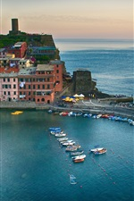 Preview iPhone wallpaper Vernazza, Cinque Terre, Italy, sea, coast, bay, boats, buildings, dusk