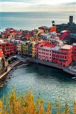 미리보기 iPhone 배경 화면 베르나, 도시, 이탈리아, 친퀘 테레 (Cinque Terre), 주택, 바위, 해안