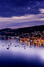 Preview iPhone wallpaper Villefranche, France, evening, city, sea, lights, houses, dusk
