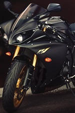 Preview iPhone wallpaper Yamaha YZF-R1 black motorcycle