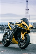 Preview iPhone wallpaper Yamaha YZF-R1 yellow color motorcycle at riverside