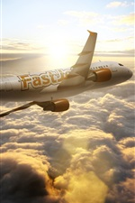 Preview iPhone wallpaper Airbus A300 aircraft, airliner, sky, sun, clouds