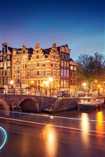 Preview iPhone wallpaper Amsterdam, Nederland, city, night, houses, bridge, canal, river, lights, boats