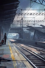 Preview iPhone wallpaper Armageddon, abandoned train station, creative pictures