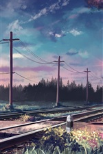 Preview iPhone wallpaper Art painted, trees, rails, poles, railroad