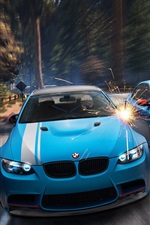 미리보기 iPhone 배경 화면 BMW M3 E92, E60 M5, 파란색 자동차, 숲, 불꽃