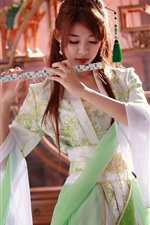 Preview iPhone wallpaper Beautiful chinese girl, music, flute