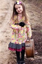 Preview iPhone wallpaper Beautiful cute girl take a suitcase