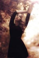 Preview iPhone wallpaper Blonde girl, black dress, autumn, park, glare