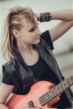 Preview iPhone wallpaper Blonde girl, guitar, music
