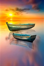 Preview iPhone wallpaper Boat, lake, water reflection, sun