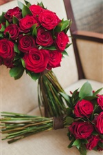 Preview iPhone wallpaper Bouquet flowers, wedding, roses, chair