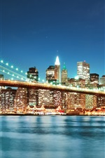 Preview iPhone wallpaper Brooklyn Bridge, New York, city, night lights