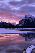 Preview iPhone wallpaper Canada, Alberta, Banff National Park, mountains, lake, sky, clouds, winter