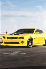 Preview iPhone wallpaper Chevrolet Camaro RS yellow supercar front view