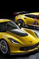 Chevrolet Corvette, Z06, C7.R GT2, yellow supercar