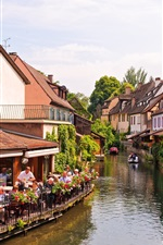 Preview iPhone wallpaper Colmar, Alsace, France, river, houses
