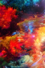 Preview iPhone wallpaper Colorful space, abstract design, stars