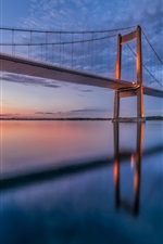 Preview iPhone wallpaper Denmark, Little Belt Bridge, sunset, sky, clouds, water reflection