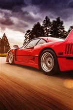 Preview iPhone wallpaper Ferrari F40 red supercar in high speed