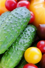 Preview iPhone wallpaper Food, vegetables, cucumber, tomato