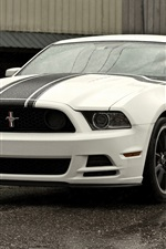 Preview iPhone wallpaper Ford Mustang Boss 302 white car front view