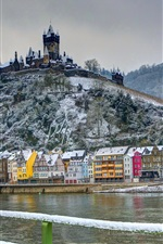 Preview iPhone wallpaper Germany, castle, fort, winter, house, river, snow