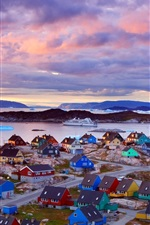 Preview iPhone wallpaper Greenland coast, colorful houses, mountains, clouds, dusk