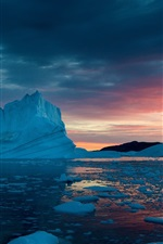 Preview iPhone wallpaper Greenland, snow, ice, sunset, sea