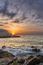 Preview iPhone wallpaper Gruissan, France, sunrise, rocks, sea, clouds