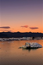 Iceland, mountains, bay, ice floes, morning