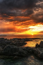 Preview iPhone wallpaper Ireland, County Donegal, sea, beach, rocks, sunset, clouds
