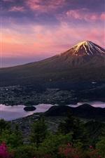 Preview iPhone wallpaper Japan, Fuji volcano, mountain, morning