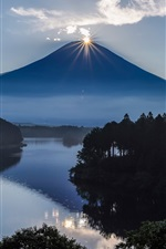 Preview iPhone wallpaper Japan, Fuji, volcano, mountain, sun, lake, trees