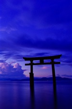 Japan, ocean, sky, clouds, gate, torii, dusk