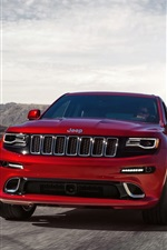 Jeep Grand Cherokee SRT red car front view